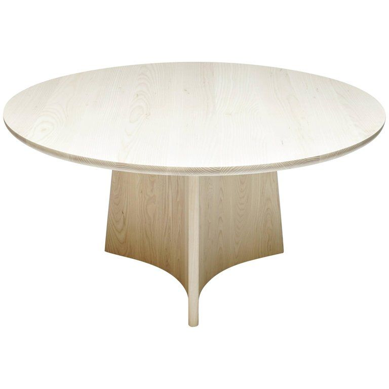 Button Round Pedestal Dining Table In Bleached Solid Ash