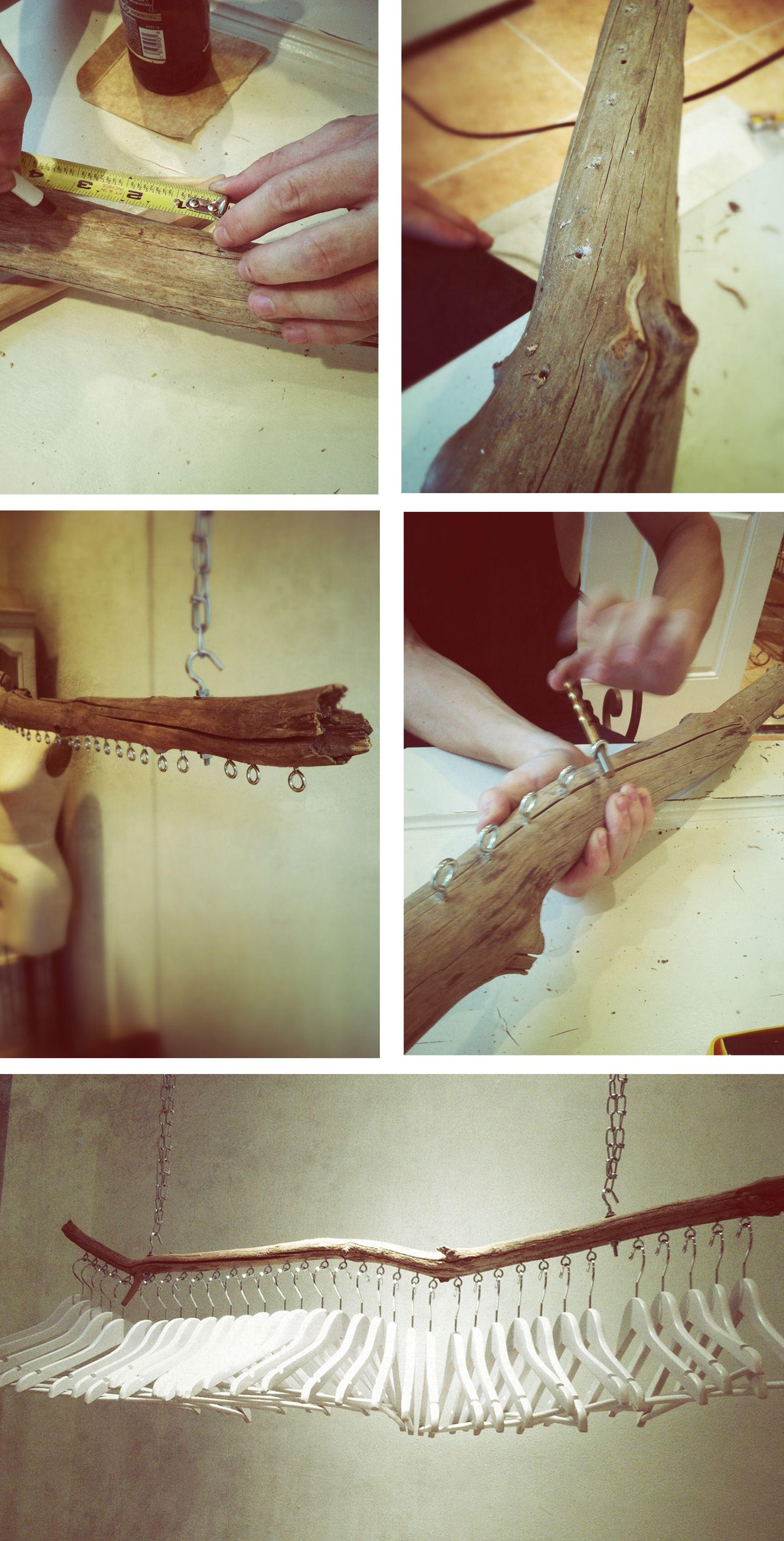 fini le placard voici un portant diy en bois flott pour. Black Bedroom Furniture Sets. Home Design Ideas