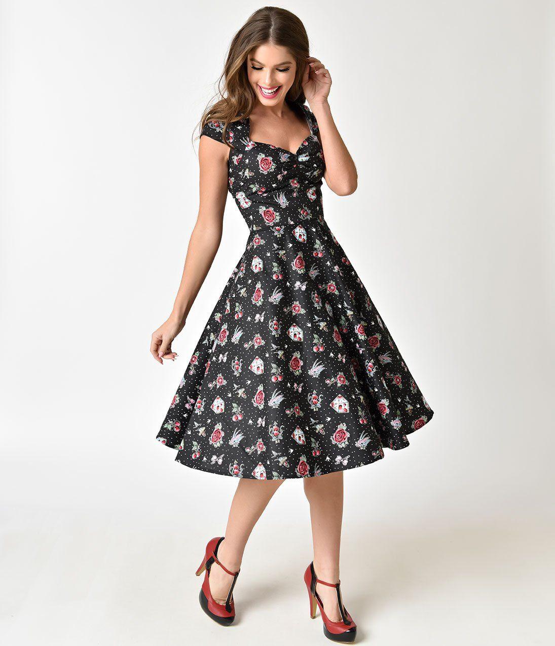 0d9a9d8a9dbc Hell Bunny Black & Traditional Print 1950s Style Stevie Cotton Dress –  Unique Vintage