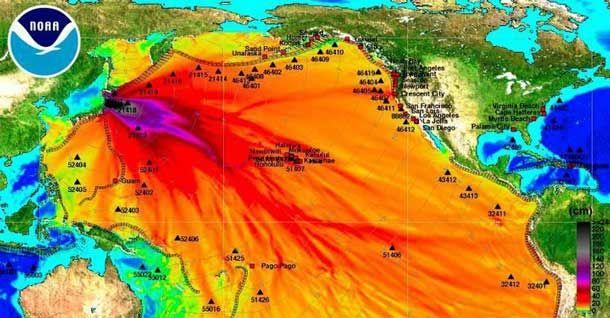NOAA Image Map of Radiation Fallout from Fukushima Nuclear Disaster ...