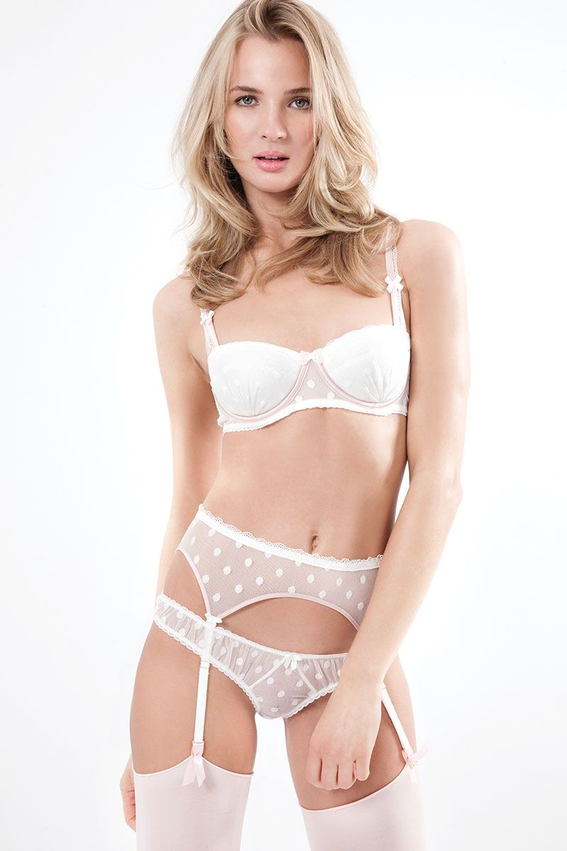 ce23510b522 Mimi Holliday - 'Dotty L´Amour' Silk Satin Balcony Bra, Bow Back Thong and  Suspender