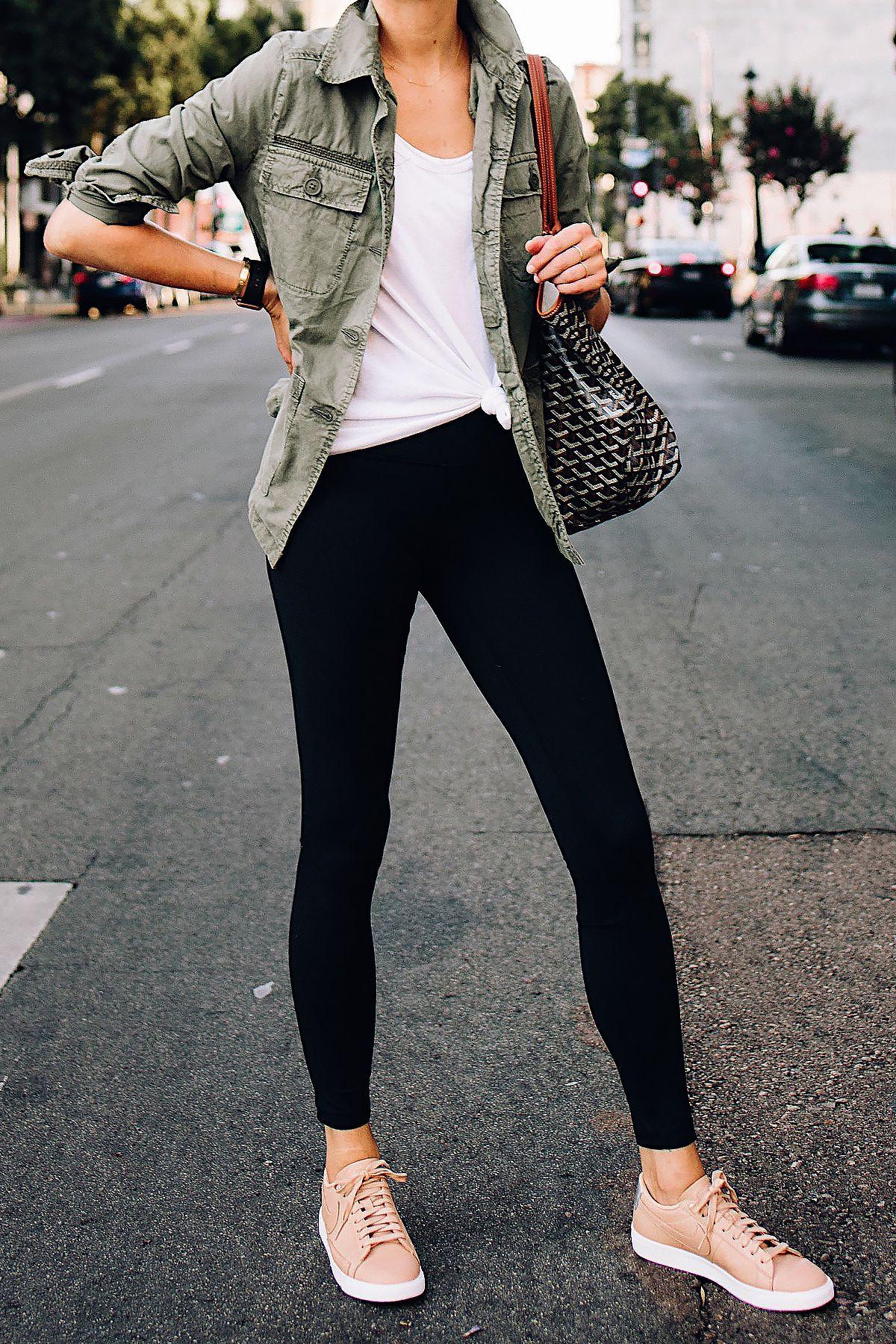Fashion Jackson Nordstrom Green Utility Jacket White Tshirt Black Leggings Nike Sneakers Beige Goyard Outfits With Leggings Tshirt Outfits Casual Tshirt Outfit [ 1800 x 1200 Pixel ]