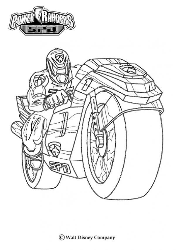 Power Rangers with a motor bike coloring page. More Power Rangers ...