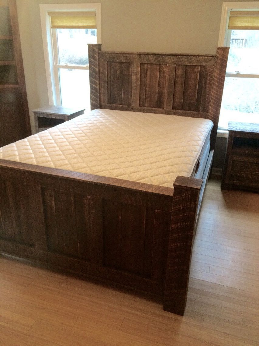 King size bedroom set made from reclaimed wood bed dresser and two