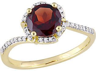 QVC 14K Gold 1.65 ct Garnet & 1/10 cttw Diamond Floral Halo Ring