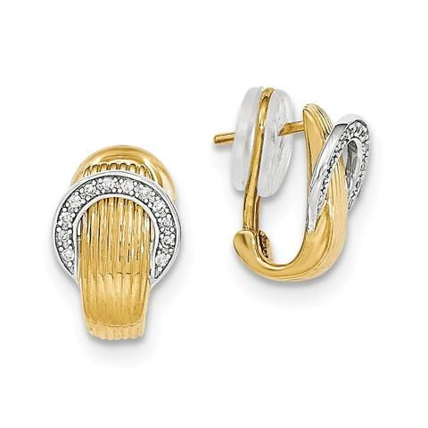 14k Two Tone Gold Diamond Polished Omega Back Earrings