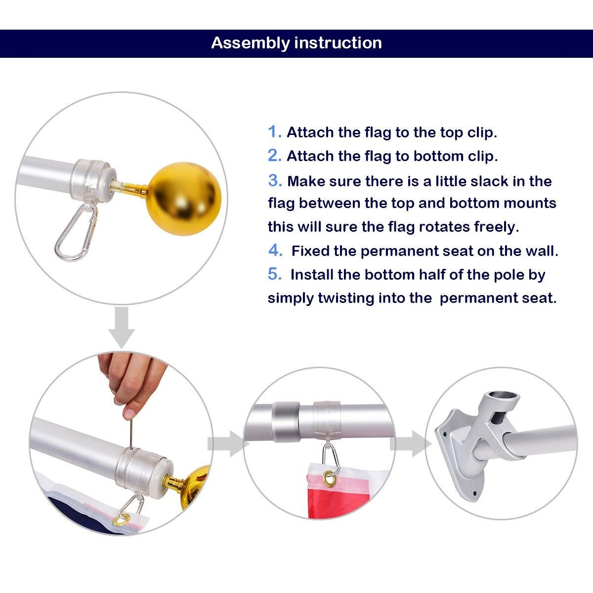 American Flag Kit Wall Mount 5 Ft Spinning Pole Telescoping Flagpole Wall Mount Wall