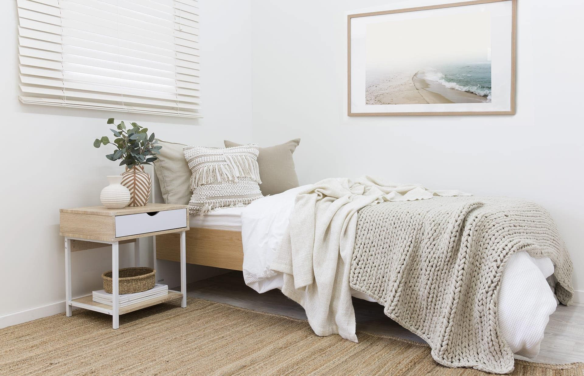 Guest Bedroom Decorating Ideas Coastal Bohemian Kids Bedroom With Single Kids Bed And Boho Cushion Single Bedroom Bedroom Table Bedroom Bedside Table