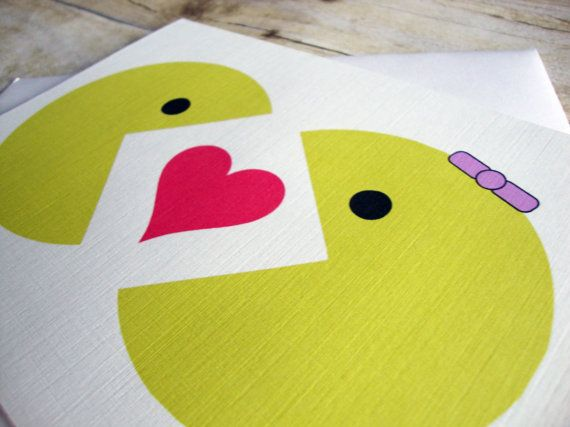 Mr and Mrs Pacman  Love BLANK Greeting Card by aLouCreations, $3.75