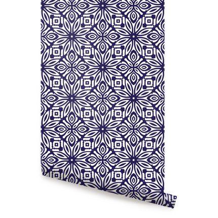 Geo Flowers Navy Peel & Stick Fabric Wallpaper