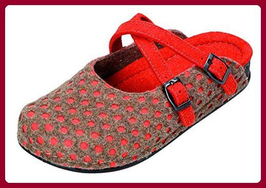 Miccos Shoes Damen Hausschuhe D.Pantoffel in grau/rot, Größe 42.0,