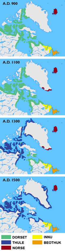 The Thule or proto-Inuit were the ancestors of all modern Inuit. They developed in coastal Alaska by AD 1000 and expanded eastwards across Canada, reaching Greenland by the 13th century. In the process, they replaced people of the earlier Dorset culture that had previously inhabited the region.