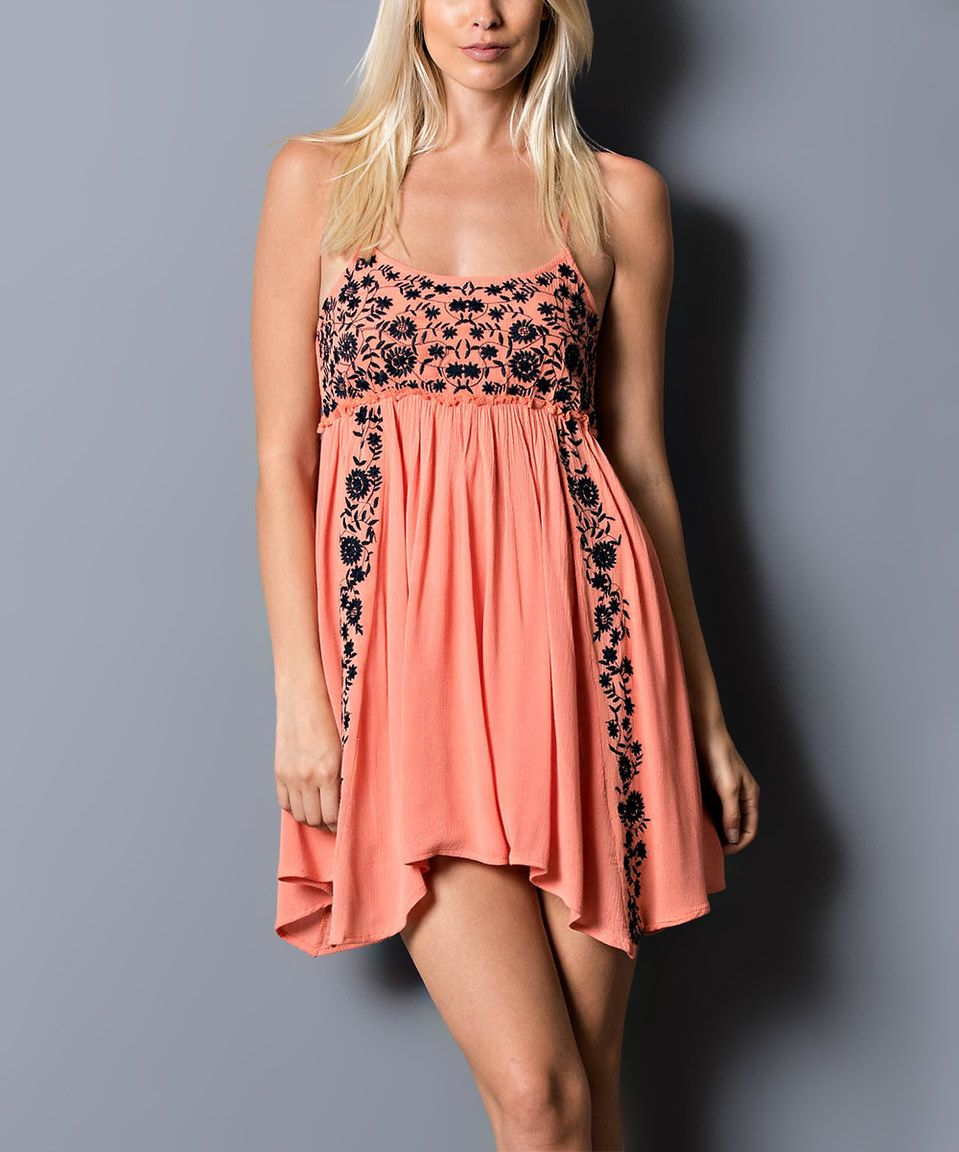 Love this Coral & Navy Floral Swing Dress by WishList on #zulily! #zulilyfinds