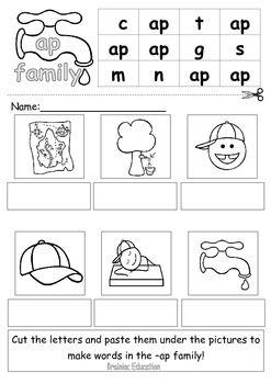 Word Family Sliders and Worksheet Pack   Worksheets, Kindergarten ...