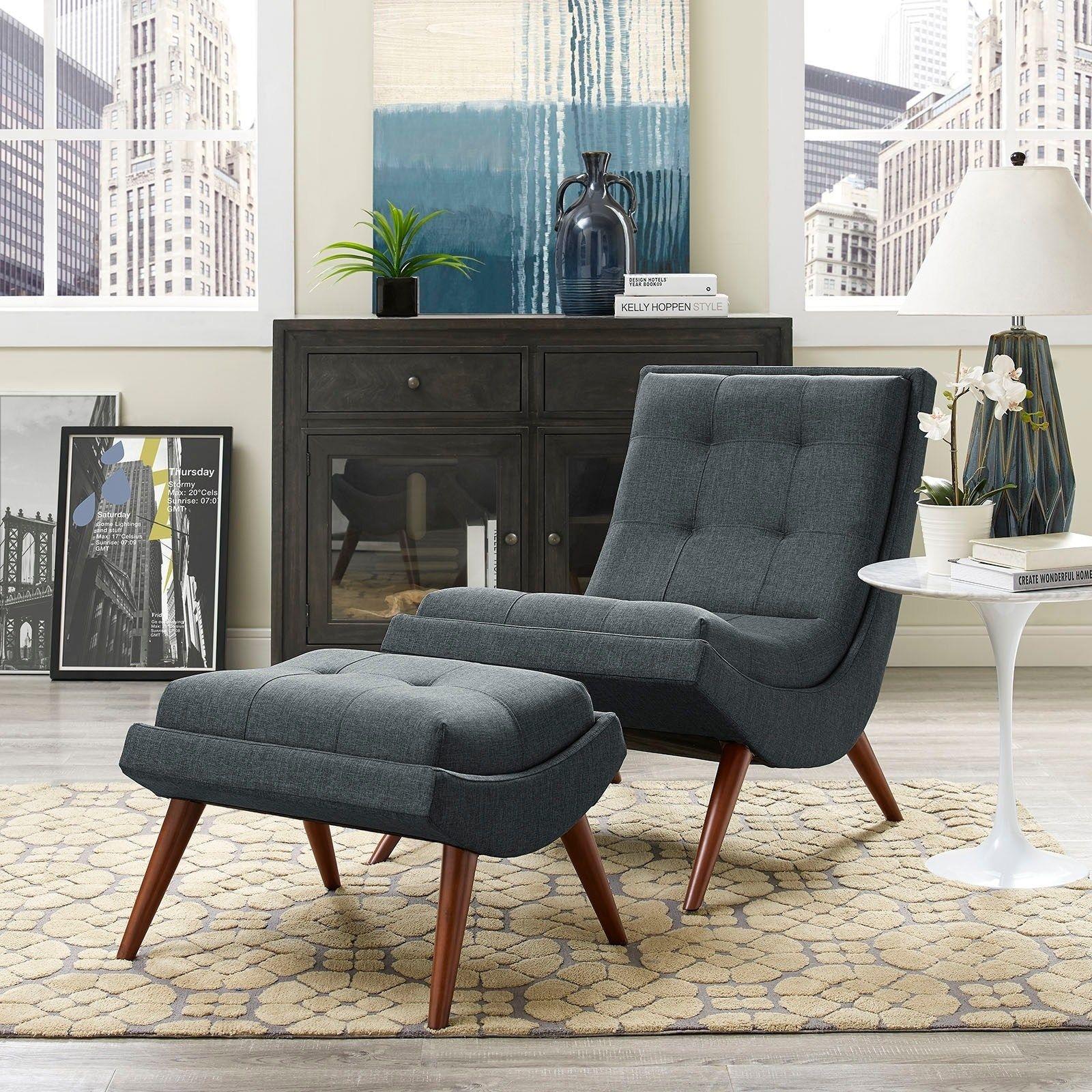 Modway Ramp Mid Century Fabric Lounge Chair Set (Grey)