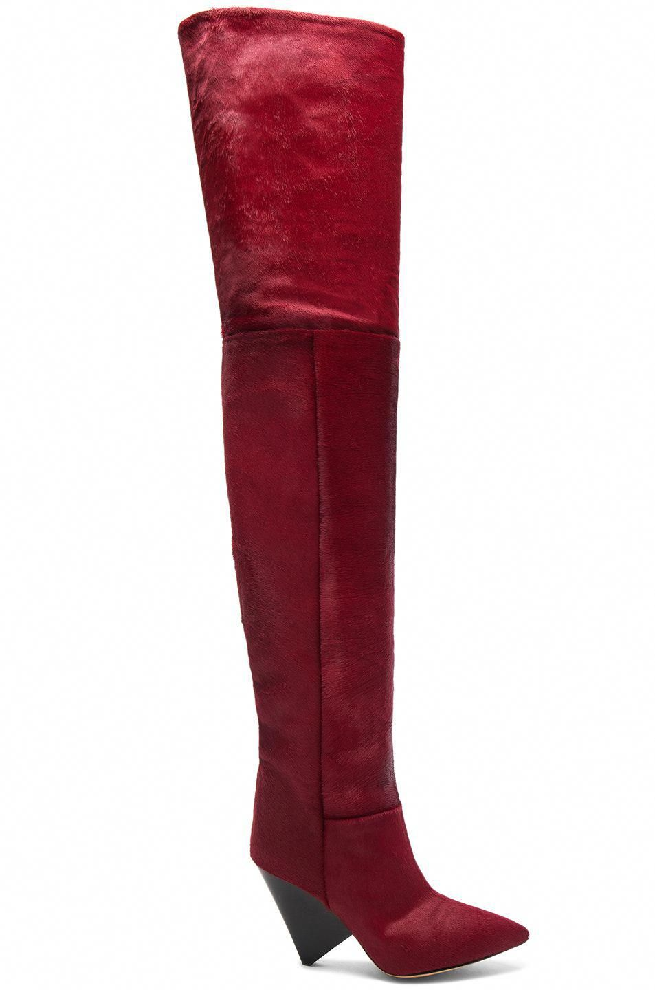 b9af06f3884 Image 1 of Isabel Marant Calf Hair Lostynn Thigh High Boots in Red   whowearsthighhighboots