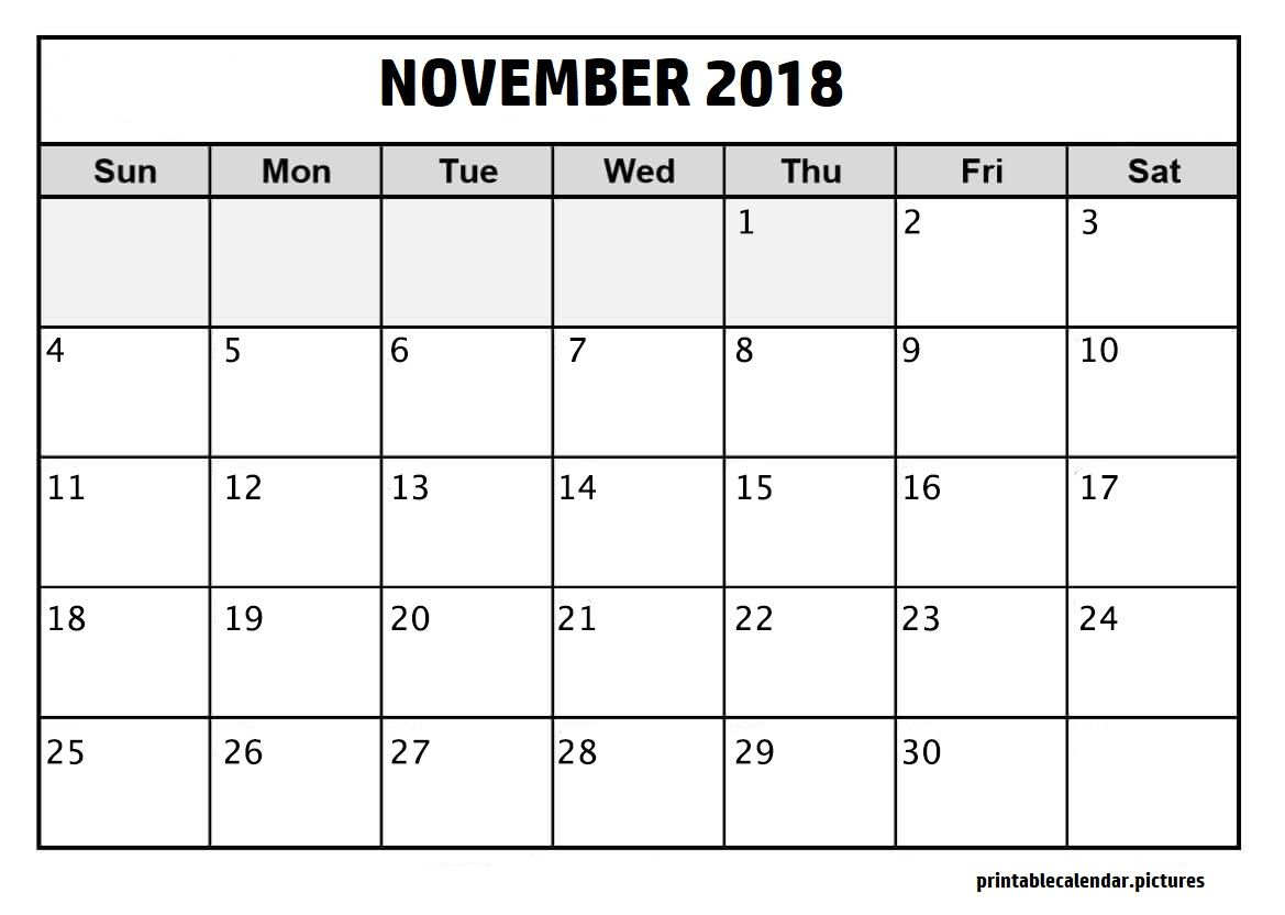 November 2018 Calendar Template 2018 Calendar Template Print