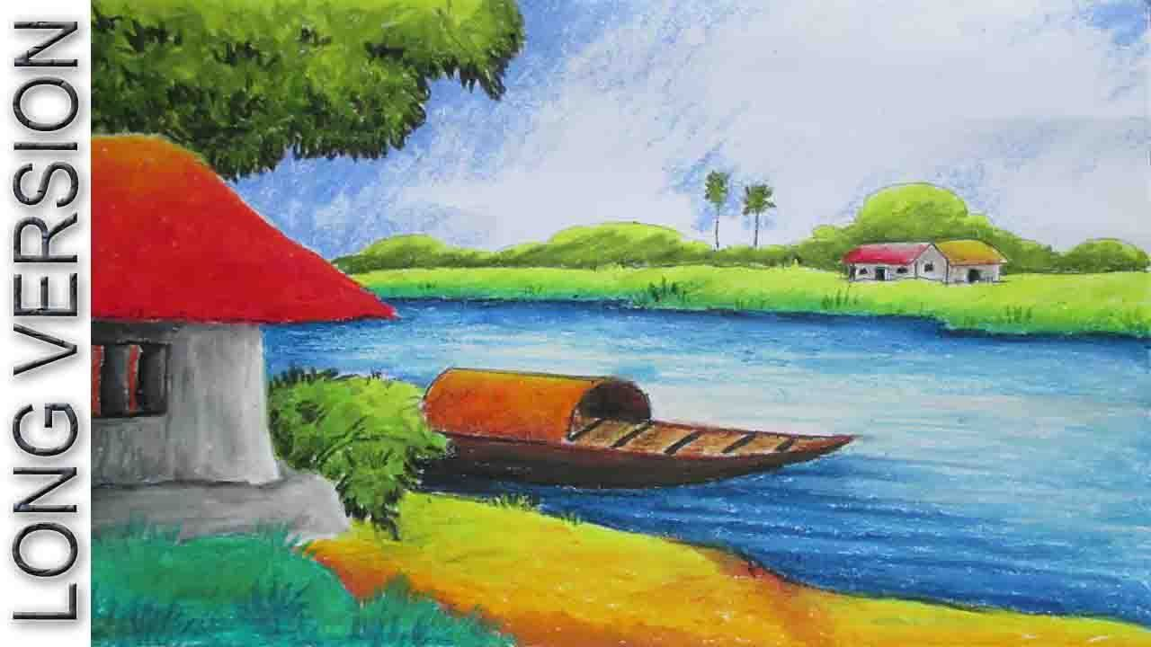 Pastel Painting Oil Pastel Landscape Drawing Tutorial Long Version Episode 10 Landscape Drawings Landscape Drawing Tutorial Oil Pastel Landscape