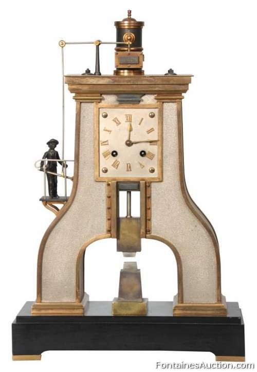 French Industrial Steam Hammer Clock - LOT 138 Estimate: $5000 - $7500 #frenchindustrial