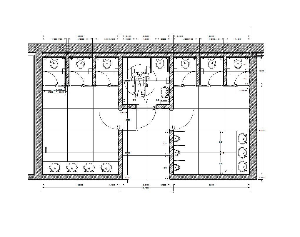 Bathroom dimensions meters - Free Autocad Of Female And Male Toilets With Dimensions For Your Cad Design