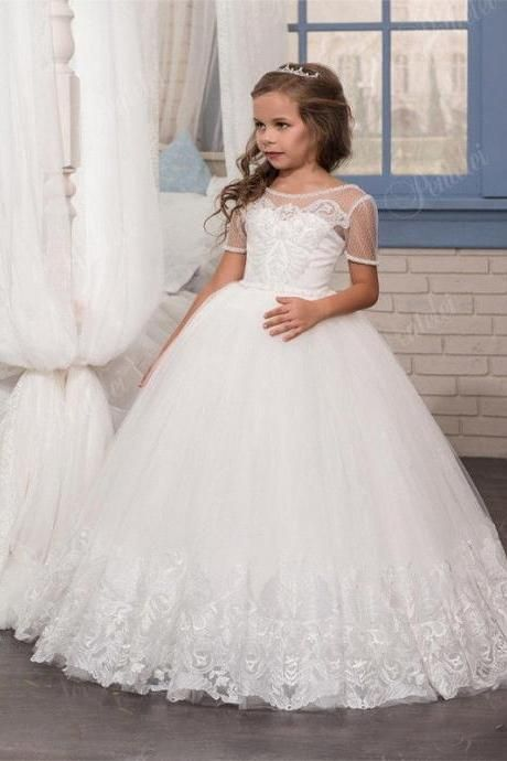 Flower Girl Princess Dress Communion Party Prom Pageant Bridesmaid Wedding