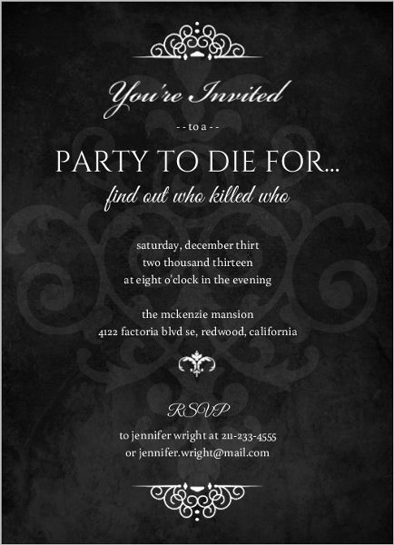 Murder Mystery Black Dinner Party Invitation Lbd30 Pinterest