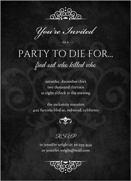 Murder Mystery Black Dinner Party Invitation LBD30 Pinterest - free printable dinner party invitations