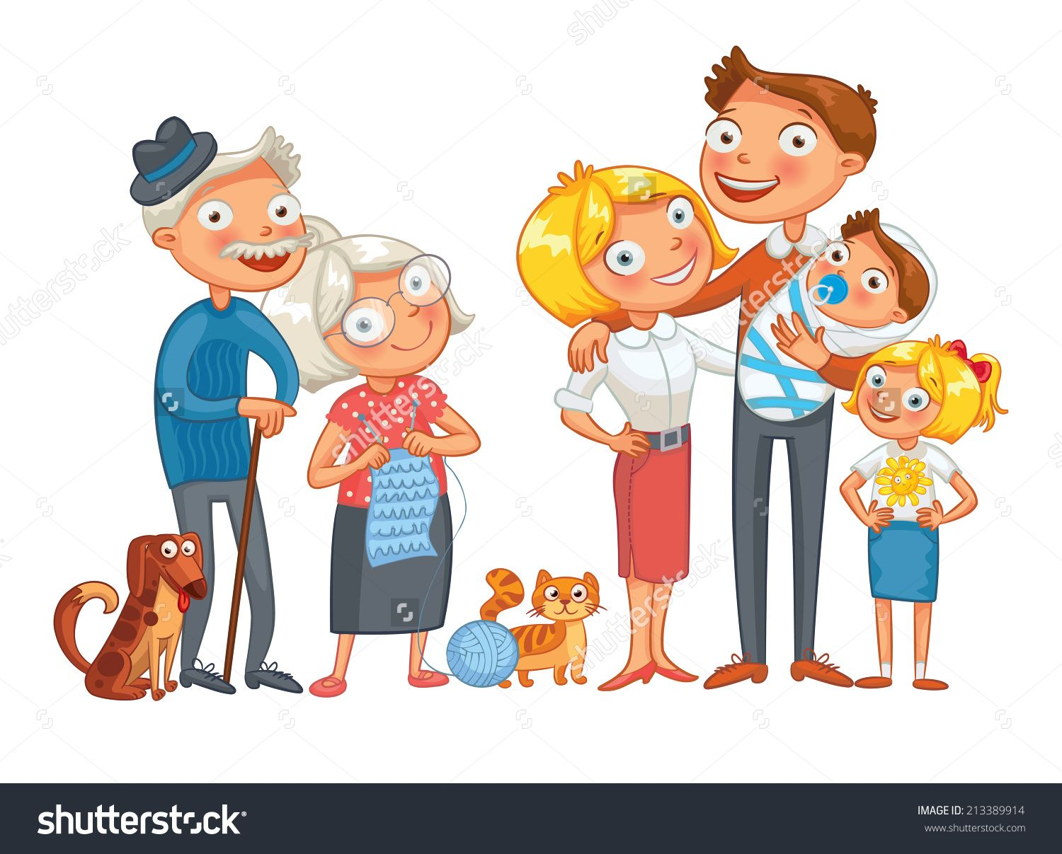 Cartoon dog stock photos images amp pictures shutterstock - Big Happy Family Consisting Of A Father Mother Daughter Son Grandparents And