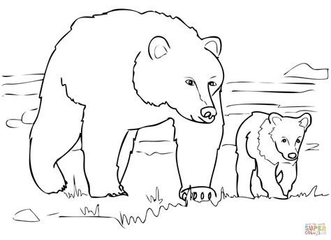 Grizzly bear free drawing patterns to trace | Bear ...
