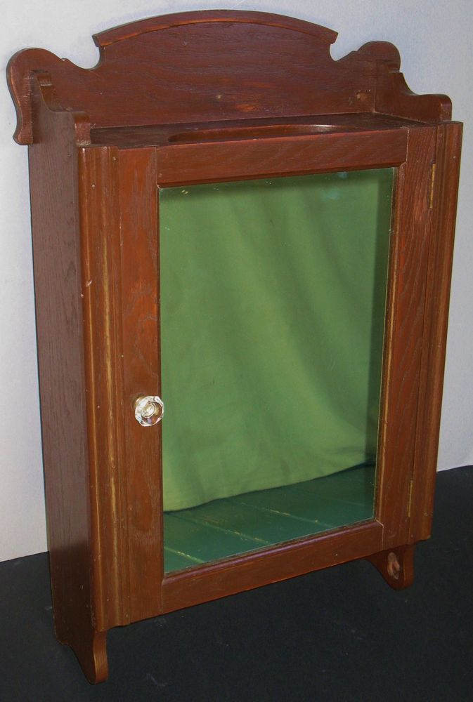 Antique oak wall mount medicine cabinet mirror glass & wood shelves - Antique Oak Wall Mount Medicine Cabinet Mirror Glass & Wood