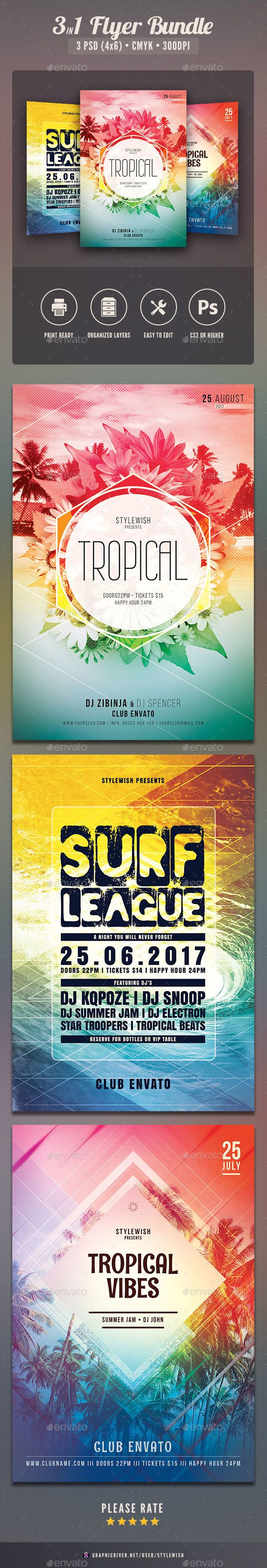 tropical flyer bundle flyer template template and typo
