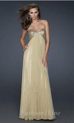 Vestido de gala com dourado e brilhos, quem gosta? Lindo!