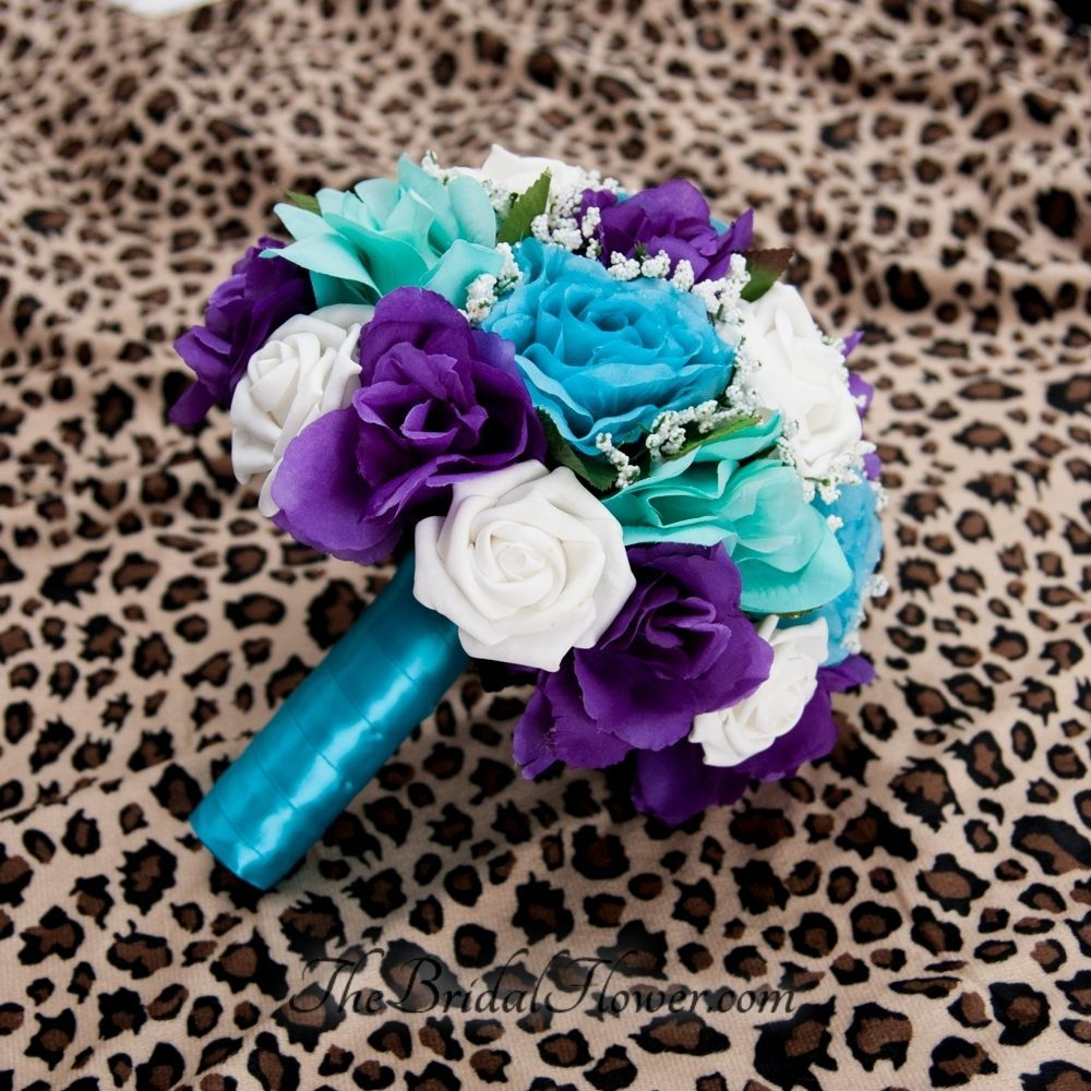 Custom Made Purple Turquoise And Aqua Teal Tiffany Blue Round Bridal Bouquet With Malibu
