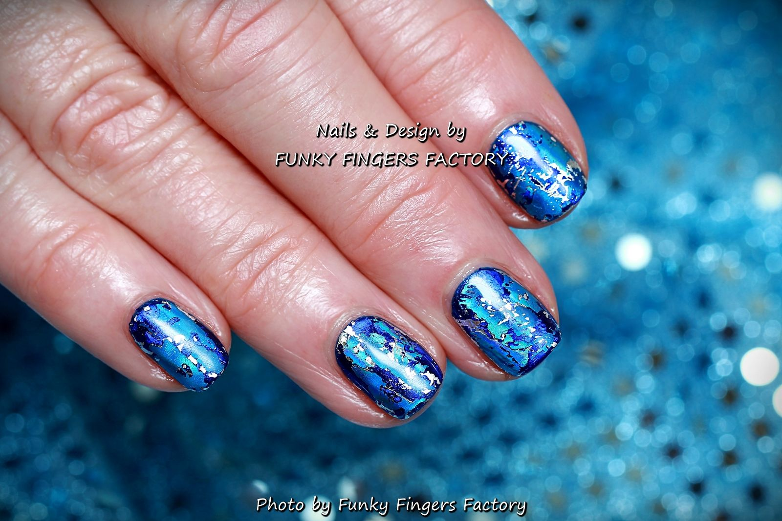 Gelish Blue Ice nails by FUNKY FINGERS FACTORY