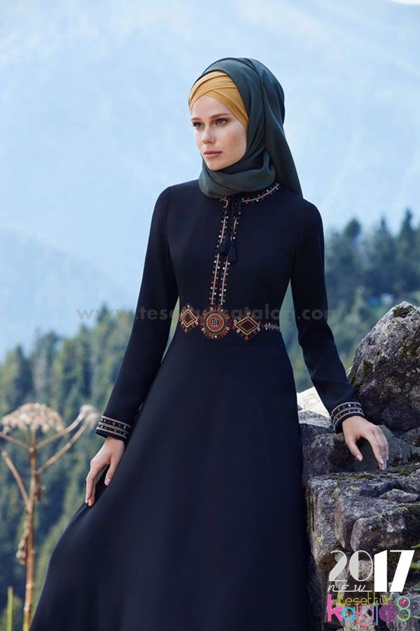 Tugba Elbise Siyah Uzun Musluman Modasi Basortusu Modasi Elbise
