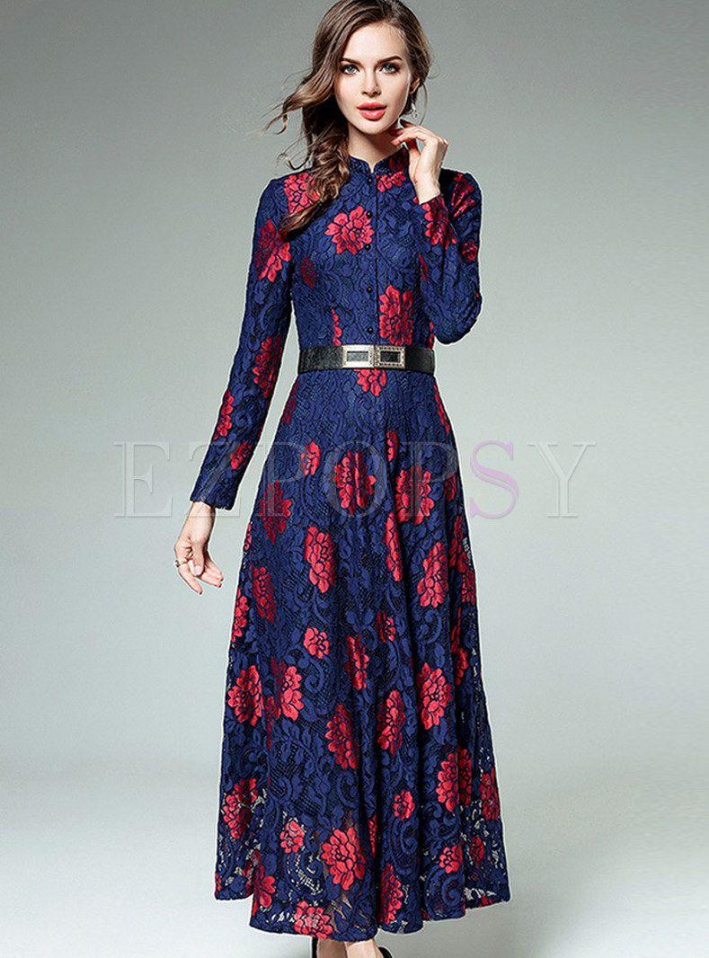 Vintage Mandarin Collar Floral Maxi Dress Maxi Dress Fashion Elegant Maxi Dress [ 1066 x 789 Pixel ]