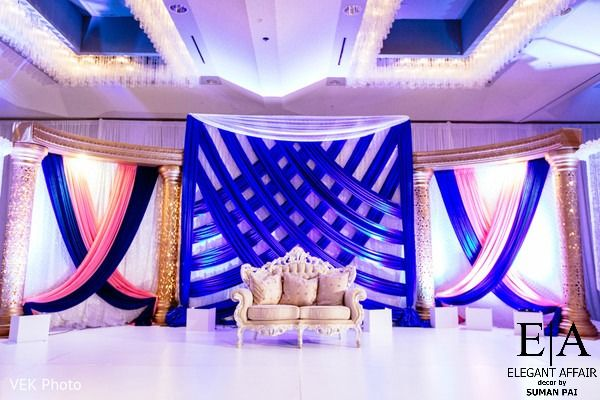 Elegant Draping In Royal Blue In Pink Reception Decor Receptionstage Wedding Stage Decorations Blue Wedding Receptions Wedding Stage