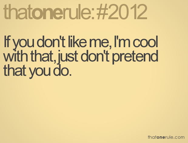 If You Dont Like Me Im Cool With That Just Dont Pretend That