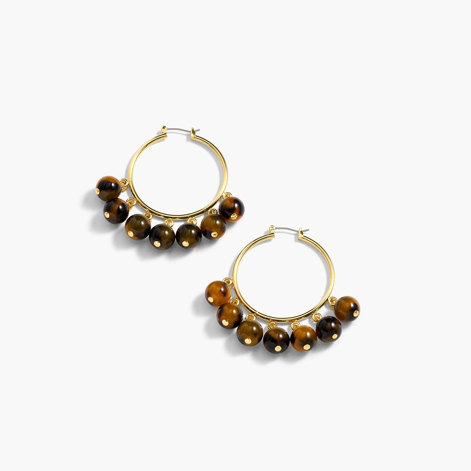 gold tortoise tone shape stainless shell v steel hoop earrings