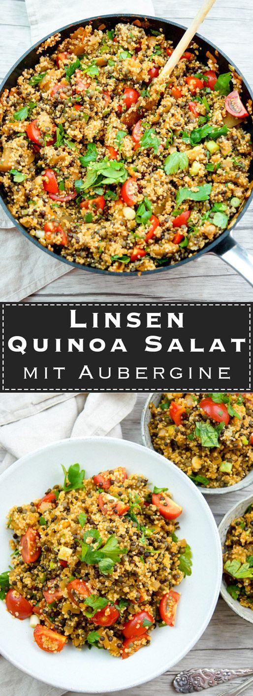 Linsen Quinoa Salat mit Aubergine und Tomaten Rezept,  testen Linsen Quinoa Salat mit Aubergine und