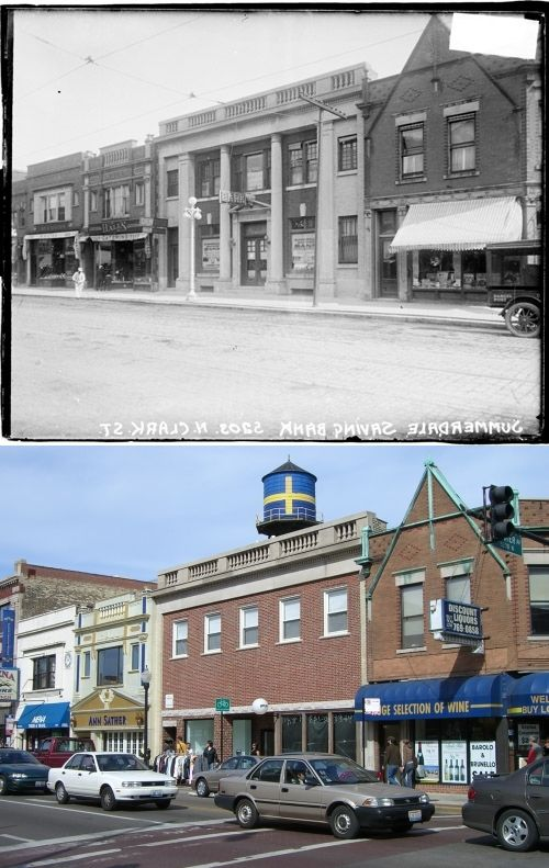 1920 Vs 2008 Intersection Of Clark And Foster Looking At Ne Corner The Buildings Still Exist Chicago Pictures Chicago Neighborhoods Chicago Photos