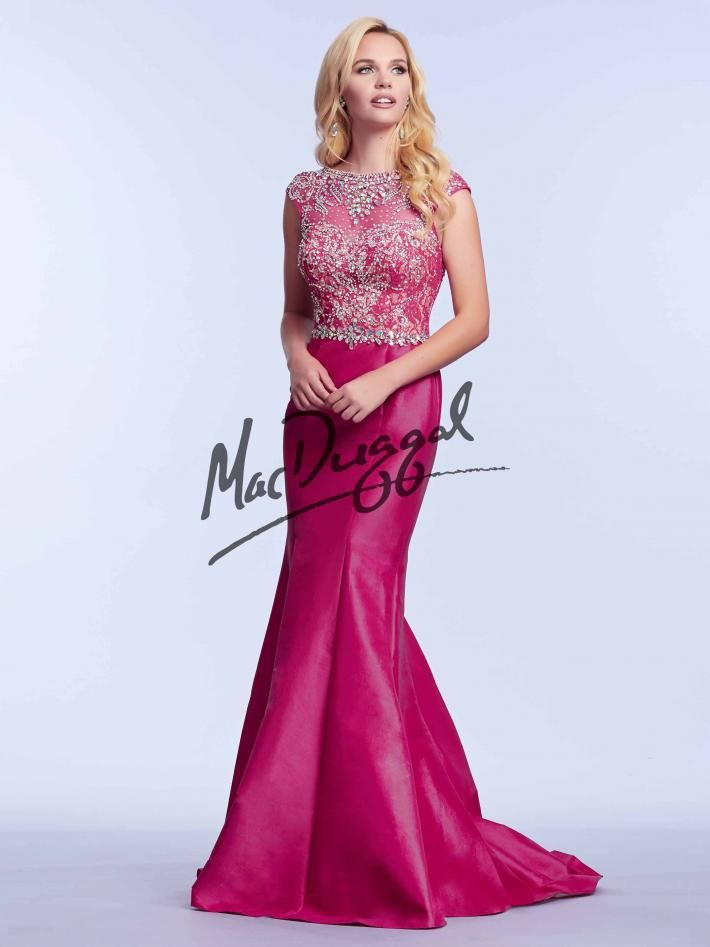 Fuchsia Pink Prom Dress | Vintage Prom Dress | Taffeta | Mac Duggal ...