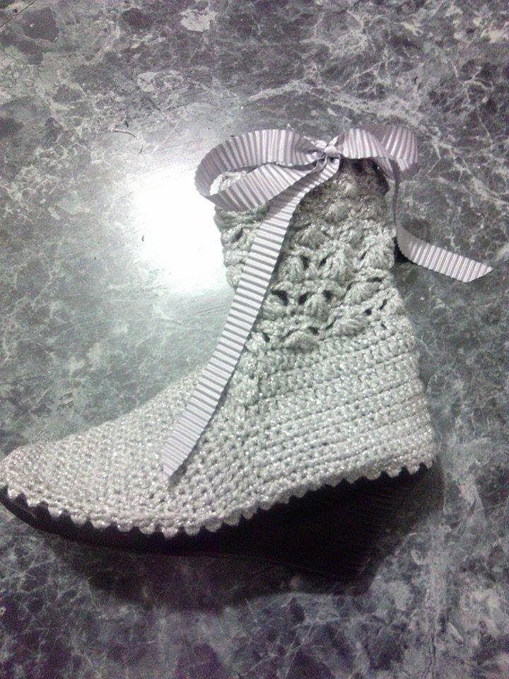Bota tejida Crochet, ganchillo modelo Bianca parte 2 | zapatos ...
