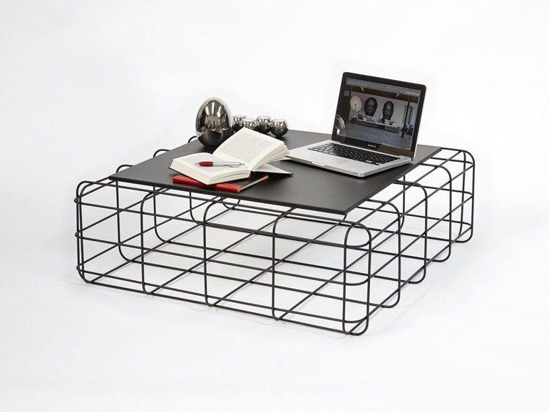 Mesita cuadrada de metal para salón WIRE by Ronda Design diseño luca ...