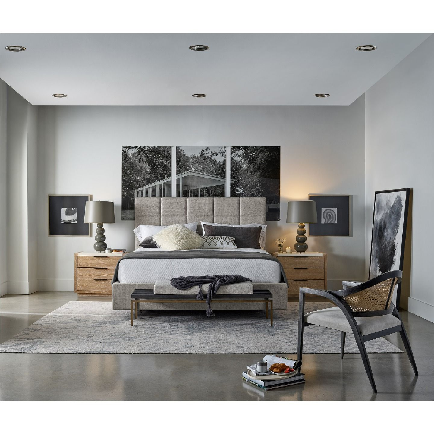 Modern Classic Grey Upholstered Paneled Bed King