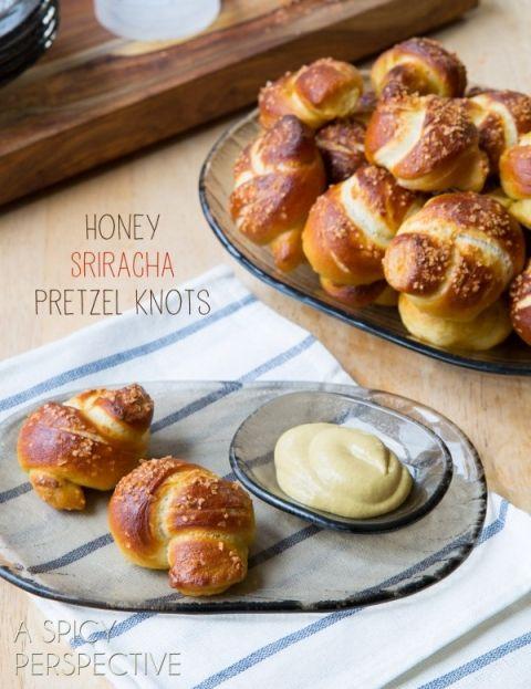 Pretzel Recipe - Honey Sriracha Knots! #superbowl #pretzels #appetizer #snack