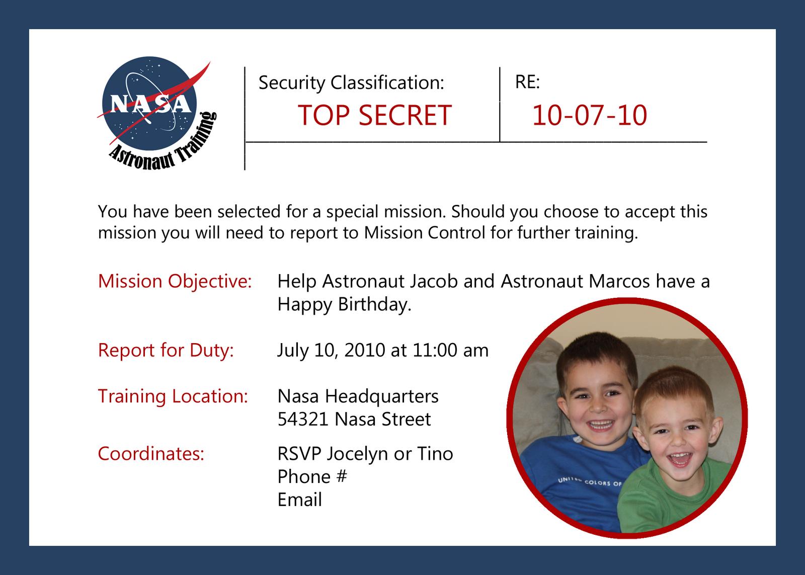 Nasa Astronaut Training Printable Invitation