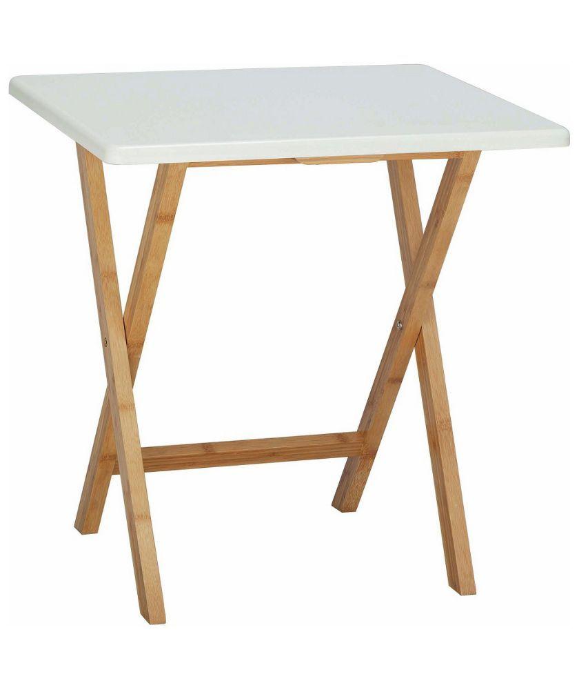 Best Habitat Drew Folding Bamboo 2 Seater Table White 400 x 300