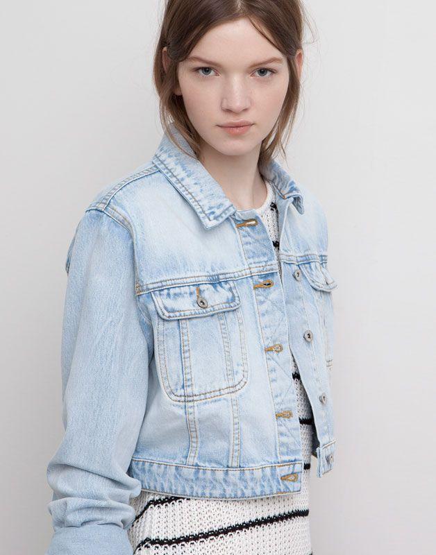 c86fd91c326 Pull & Bear - woman - coats - basic short denim jacket - light blue ...