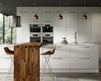 Esker ice white gloss kitchen kitchen for Wickes kitchen wall cabinets